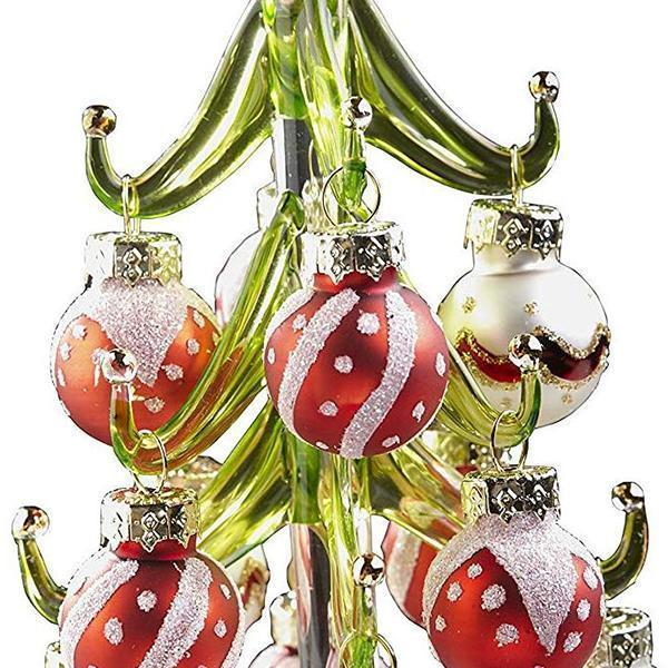 Ihrtrade Glass Christmas Tree With Ornament Balls (3 colors)