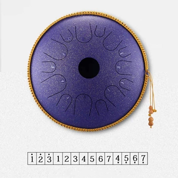 Ihrtrade Steel Tongue Drum Pure Copper 16 Inches 14 Notes - Drum Mallets, Suitable for Professional Performance, Activity Starring