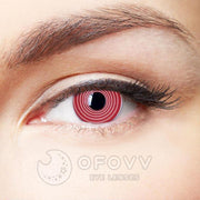 Ofovv® Cheap Non Prescription And Prescription Red Spiral Special Effect Colored Contact Lenses Online Store(1 YEAR)