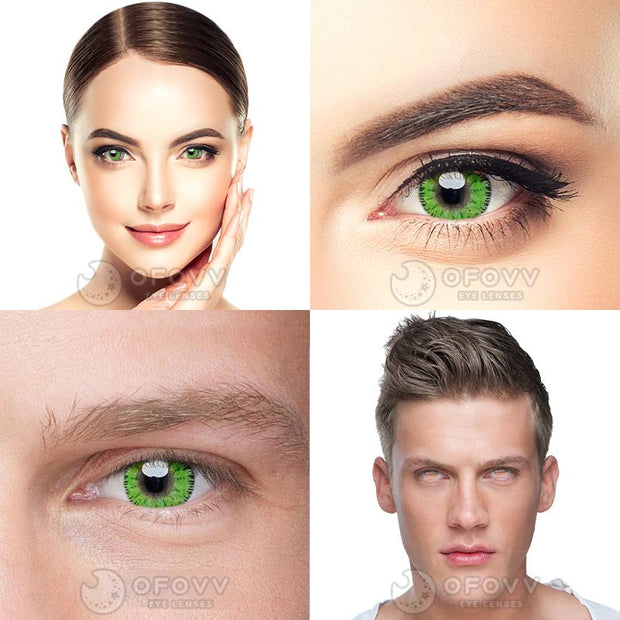 Ofovv® Cheap Prescription Bee Green Toric Colored Contact Lenses Online Store(1 YEAR)