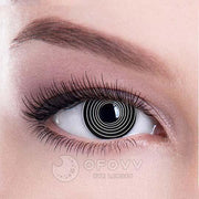 Ofovv® Cheap Prescription Black spiral Special Effect Colored Contact Lenses Online Store(1 YEAR)