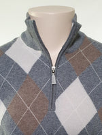 Load image into Gallery viewer, Gran Sasso Wool Cashmere Argyle 1/4 Zip Knit | 2 Colours