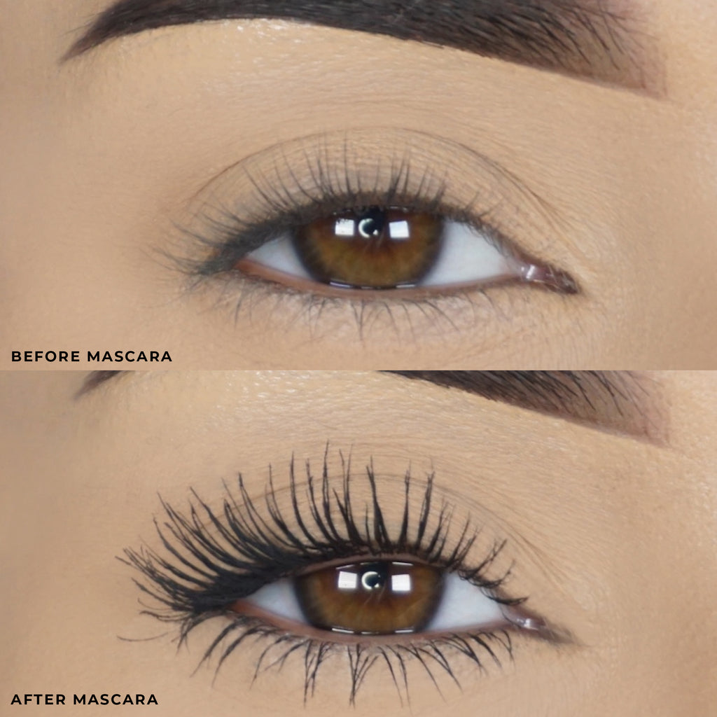 Lilly Lashes Triple X Before Mascara and After Mascara Model Imagery