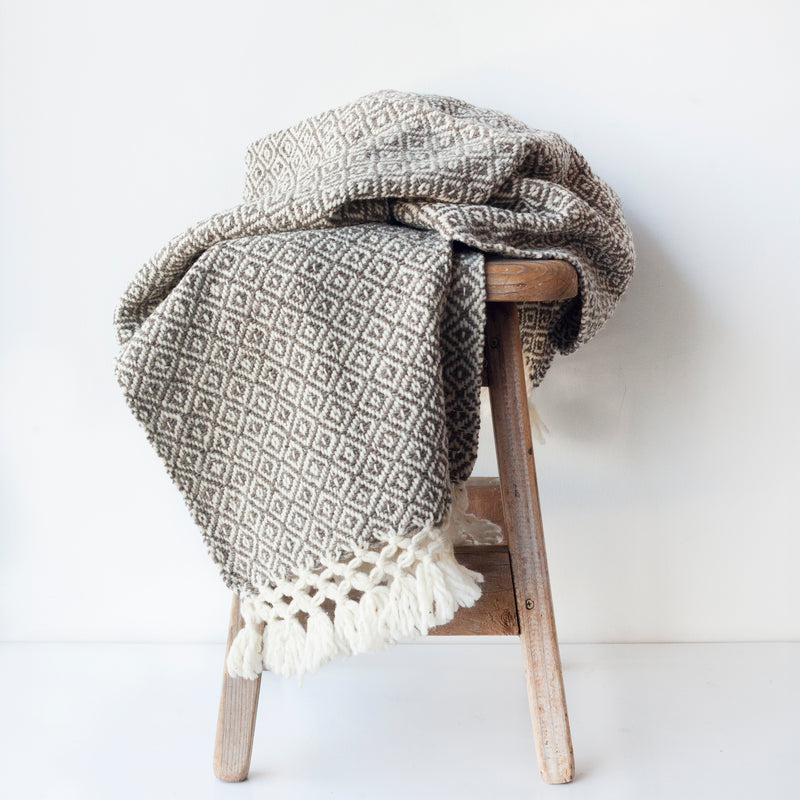 CHIAPAS Wool Throw - Brown + White