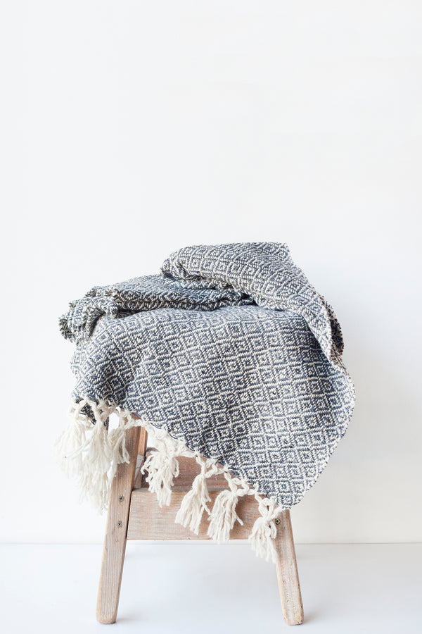 CHIAPAS Wool Throw - Charcoal & Cream