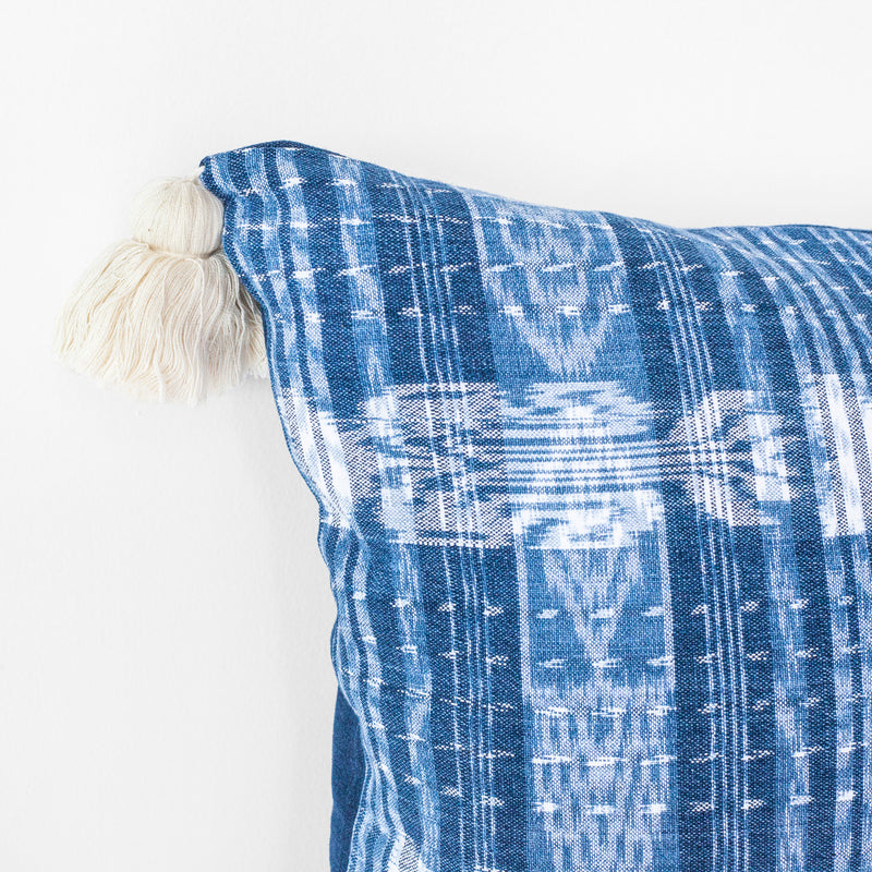TOTO Indigo Pillow - White Tassels
