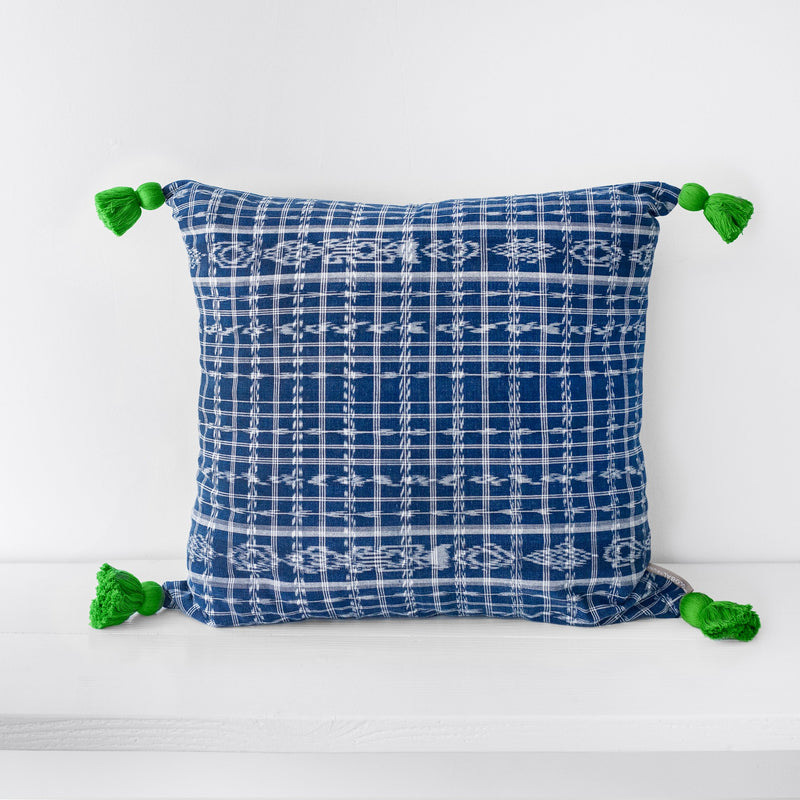 TOTO Indigo Pillow - Green Tassels