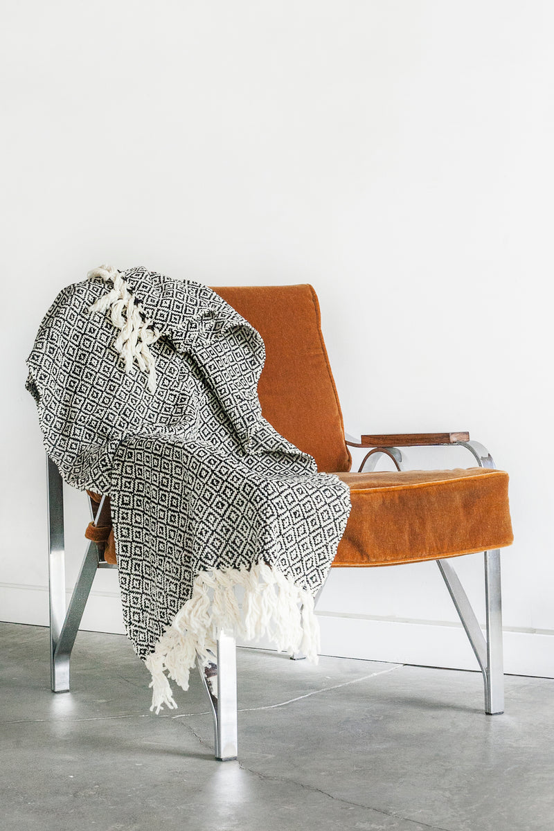 CHIAPAS Wool Throw - Black + White