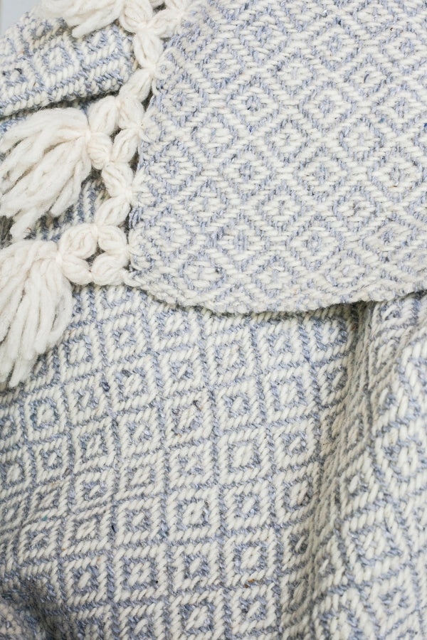 CHIAPAS Wool Throw - Light Grey + White