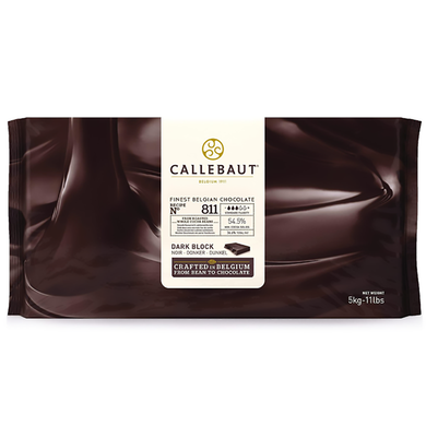 811 Dark chocolate 54.5%, finest Belgian chocolate, Callebaut Belgium, 5 kg block