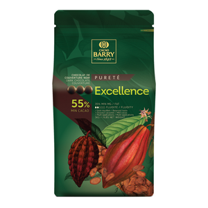 Excellence Purity dark chocolate couverture 55%, Cacao Barry France, 5 Kg Coins, pistoles