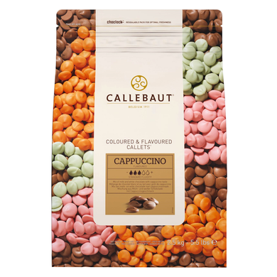 Cappuccino chocolate 30.8%, speciality chocolate, Callebaut Belgium, 2.5 kg coins, callets