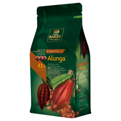 Alunga Purity milk chocolate couverture 41%, Cacao Barry France, 5 Kg Coins, pistoles