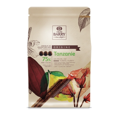 Tanzanie dark chocolate couverture 75%, Cacao Barry France, 5 Kg Coins, pistoles
