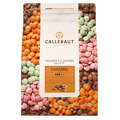 Caramel chocolate 31.1%, speciality chocolate, Callebaut Belgium, 2.5 kg coins, callets