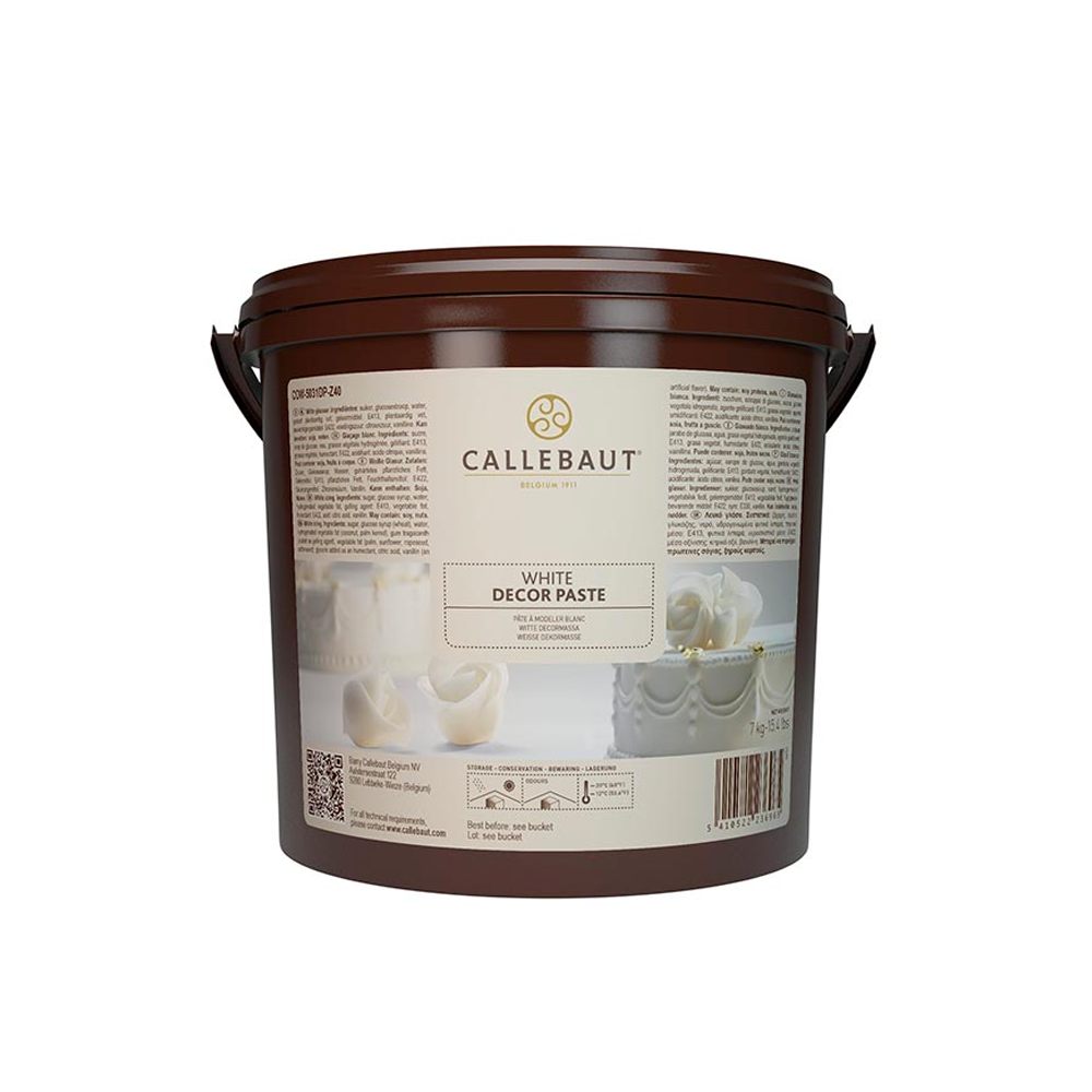 COW-5031 white icing sugar and Decor paste, Callebaut Belgium, 7 Kg Bucket