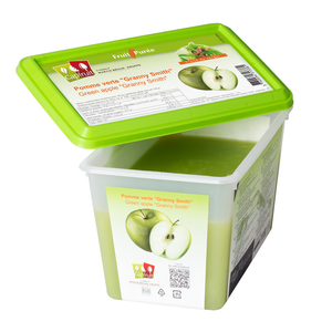 Green Apple Granny Smith frozen fruit puree, Capfruit France, 1 Kg Tub