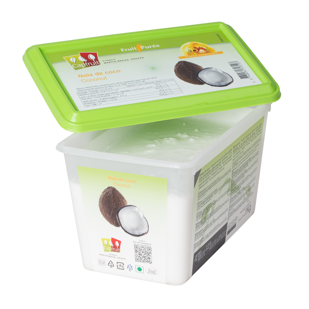 Coconut frozen fruit puree, Capfruit France, 1 Kg Tub