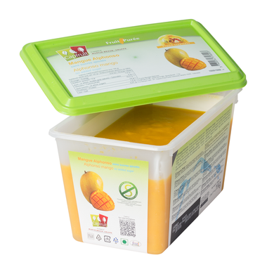 Mango Alphonso frozen fruit puree, Capfruit France, 1 Kg Tub