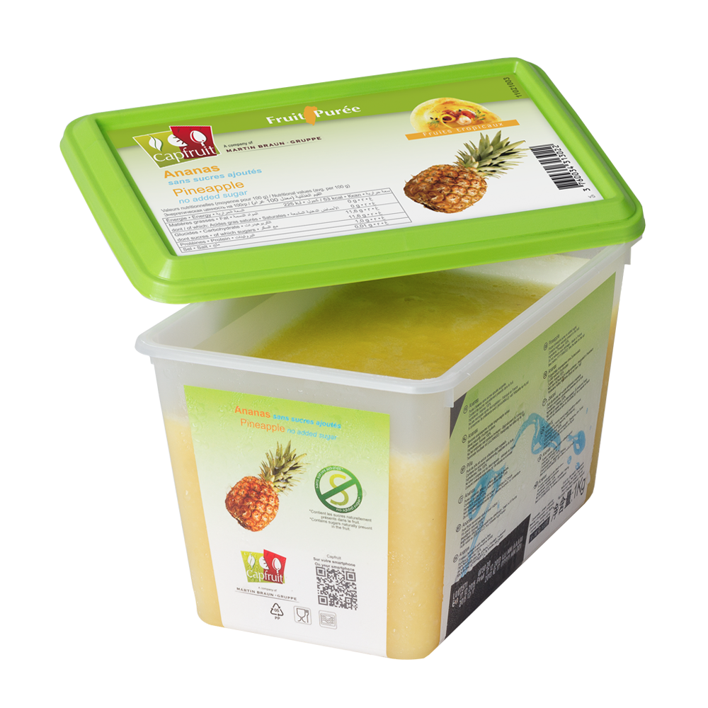 Pineapple frozen fruit puree, Capfruit France, 1 Kg Tub