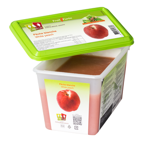 White peach frozen fruit puree, Capfruit France, 1 Kg Tub