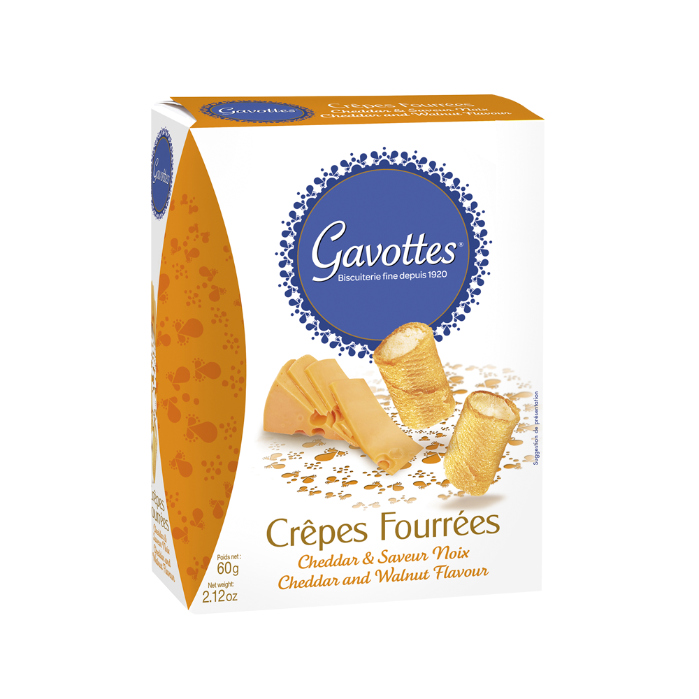 GAVOTTES (France) Crispy crêpes filled with CHEDDAR cheese - 60gr Pack