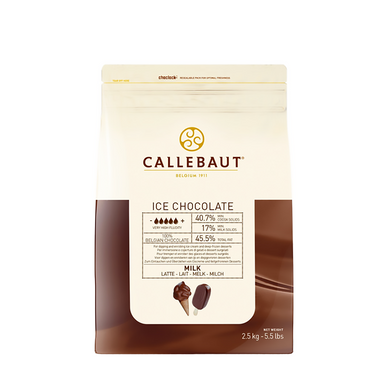 ICE Milk chocolate 40.7%, Callebaut Belgium, 2.5 kg Coins, callets