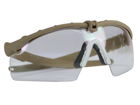 Bravo Airsoft Tactical Eye Protection with Tan Frame and Clear Lens