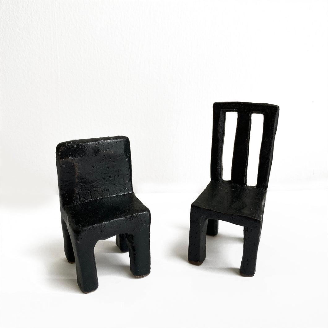 Pair of ceramic chairs by Keiko Matsui