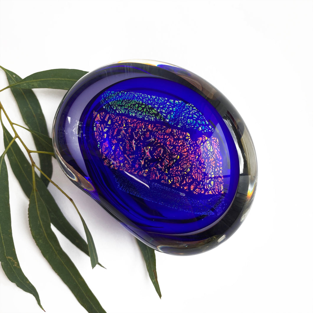 'Riverstone' blue glass paperweight by Robert Wynne