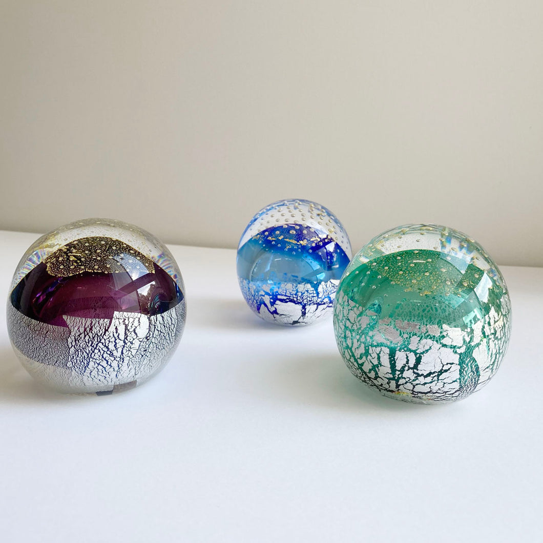 Glass paperweights (various colours) by Brian Hirst
