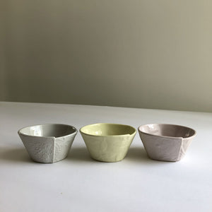 Trio of small ceramic bowls by Somchai Charoen