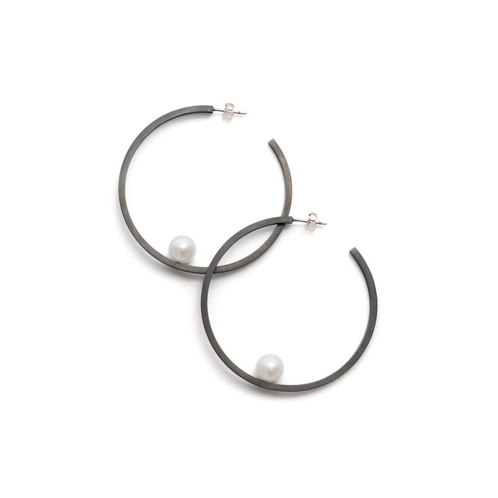 'Suspended pearl' hoop earrings Melanie Katsalidis