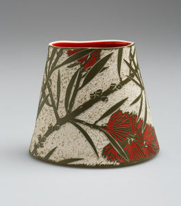 'Crimson Bottlebrush' porcelain vase by Cathy Franzi
