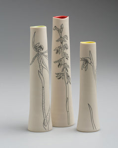 Set of 3 porcelain 'Orchid' vases by Cathy Franzi
