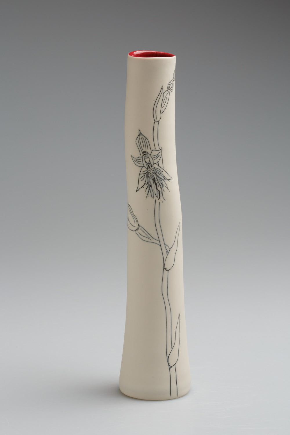 'Beard orchid' porcelain vase by Cathy Franzi
