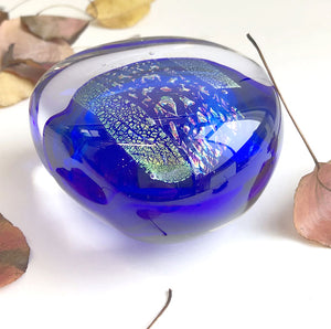 'Riverstone' glass paperweight by Robert Wynne