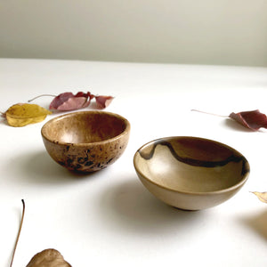 Pair of tiny hand-turned Australian timber bowls by Brad Moss