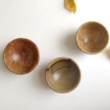 Load image into Gallery viewer, Trio of tiny hand-turned Australian timber bowls by Brad Moss