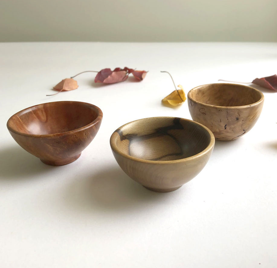 Trio of tiny hand-turned Australian timber bowls by Brad Moss