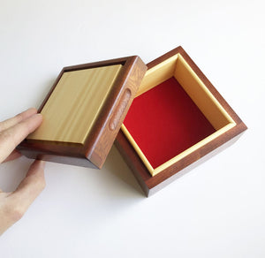 Rose mahogany and Huon pine 'Secrets' box by Col Hosie