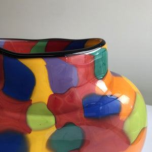 Multi-coloured glass vase by Maureen Williams