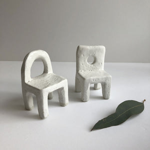 Two ceramic chairs by Keiko Matsui