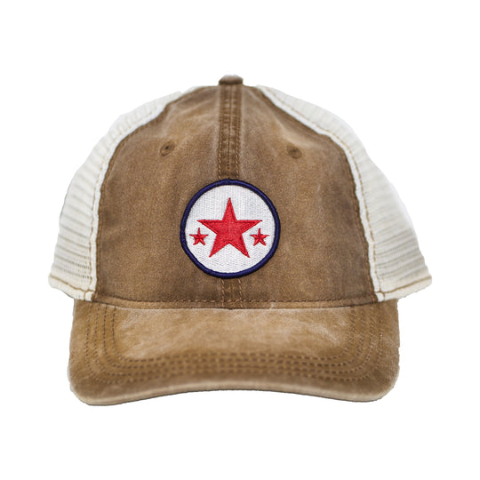 3 Star Embroidered Distressed Trucker Cap