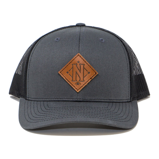Leather Debossed Diamond N Trucker Cap