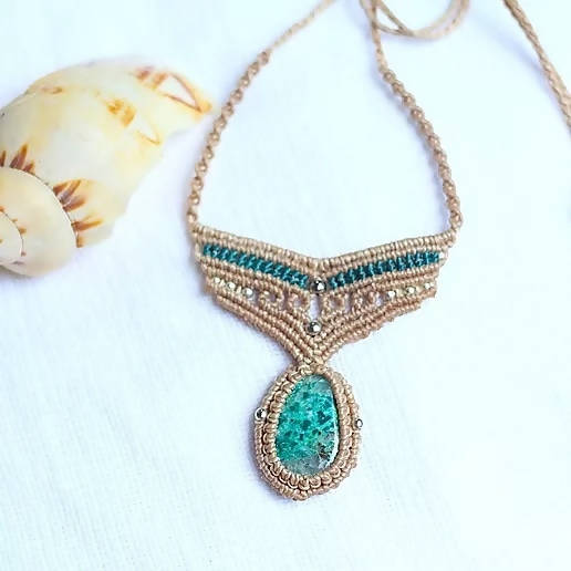 Chrysocolla Macrame Necklace - Shop The Tweed Online Marketplace