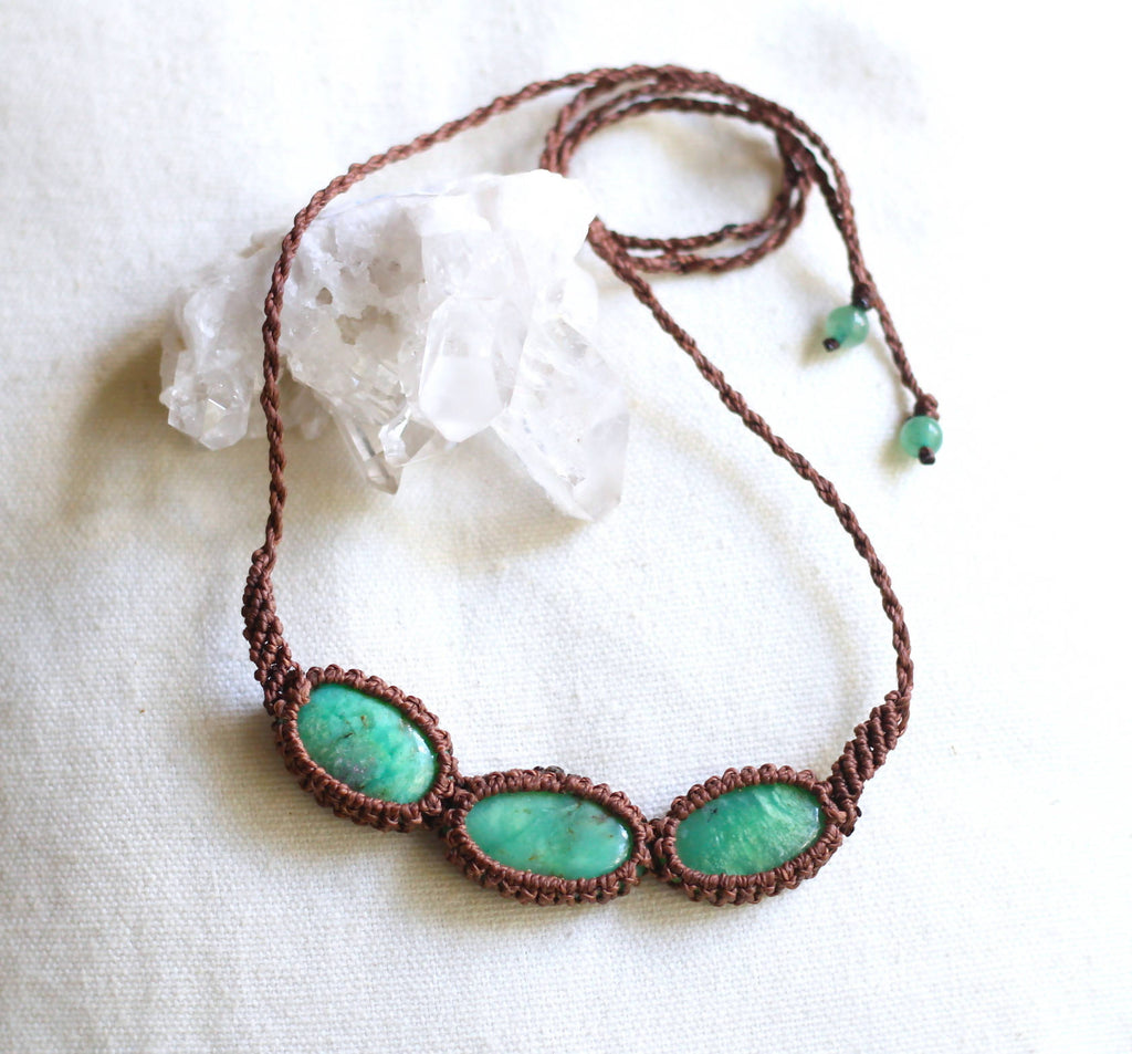 Chrysoprase Macrame Necklace - Shop The Tweed Online Marketplace