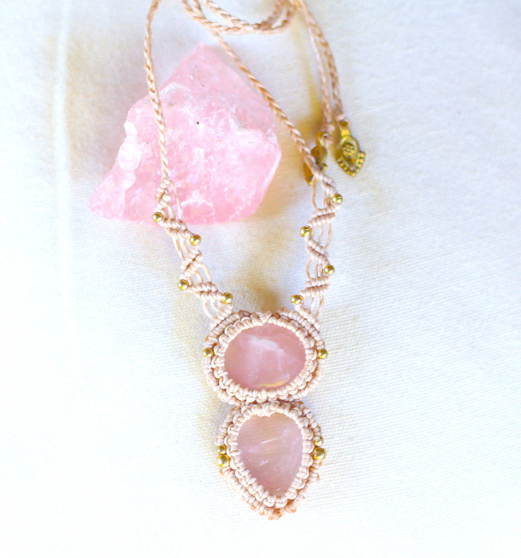 Rose Quartz Macrame Necklace - Shop The Tweed Online Marketplace