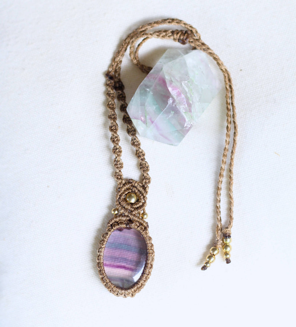 Fluorite macrame necklace - Shop The Tweed Online Marketplace