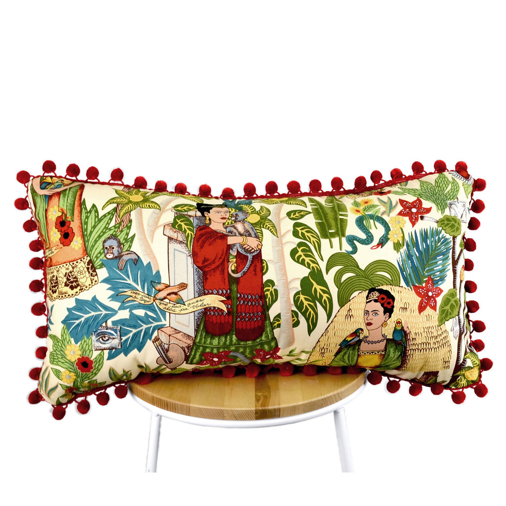 Frida's Garden Cream Cushion - Red Pom Poms Long - Shop The Tweed Online Marketplace